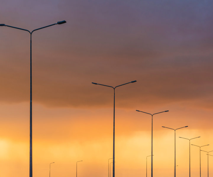 Аэросъемка опор уличного освещения